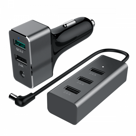60W USB 5-Port Car Charger (1-Port QC3.0 + 4-Port 2.4A)