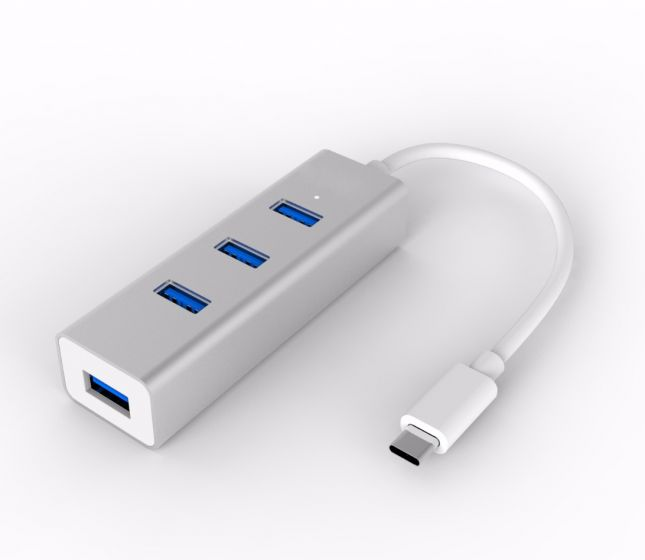 Type C to USB3.0 4-Port Hub, Aluminum Case