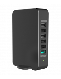 60W, USB 6-Port Smart Desktop Charger (5-Port 2.4A + 1-Port QC2.0), with AC Power Cord