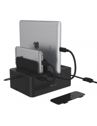 48W, USB 5-Port Charging Station ( 5 * 2.4A Port ), w/Storage Box, w/Slot Seperator, w/12V4A AC Power Adapter + Power Cord