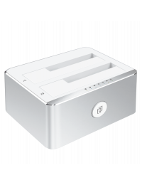 """USB3.0 Type B to Dual 2.5""""/3.5"""" SATAIII HDD/SSD Docking Station, Support Offline Clone Function, Support UASP, w/ 12V3A Power Adapter,  Aluminum Case"""