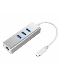 Type C to USB3.0 3-Port Hub + 1-Port Gigabit Ethernet, Aluminum Case