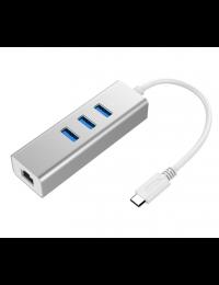Type C to USB3.0 3-Port Hub + 1-Port Gigabit Ethernet, Aluminum Case