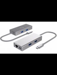 USB3.0 Type C to 2-Port Hub + 1-Port Gigabit Ethernet Aluminum Adapter w/ Power Delivery