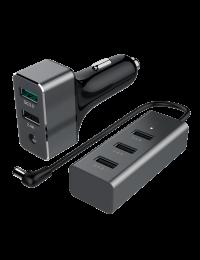 60W USB 5-Port Car Charger (1-Port QC3.0 + 4-Port 2.4A)