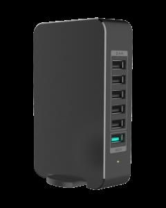 60W, USB 6-Port Smart Desktop Charger (5-Port 2.4A + 1-Port QC2.0), with AC Power Cord