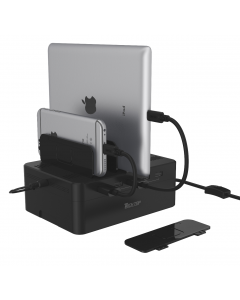 48W, USB 5-Port Charging Station ( 5 * 2.4A Port ), w/Storage Box, w/Slot Seperator, w/12V4A AC Power Adapter + Power Cord