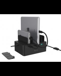 60W, USB 7-Port Charging Station ( 5 * 2.4A Port + 1*QC3.0 + 1* 3A Type C), w/Storage Box, w/Slot Seperator, w/15V4A AC Power Adapter + Power Cord