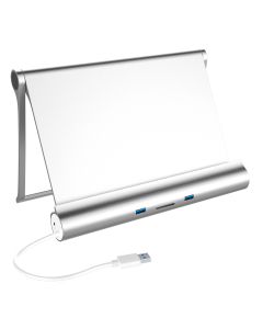 USB3.0 Multi-Functional Stand for Tablet (5*USB3.0 + 1*SD Card Reader + 1*Gigabit Ethernet), w/5V2A Power Adapter, Aluminum Case