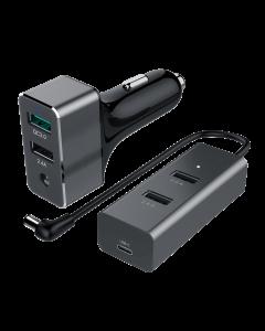 60W  USB 5-Port Car Charger (1-Port QC3.0 + 3-Port 2.4A + 1-Port Type C 3A)
