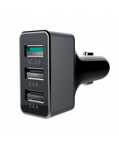 42W, USB 3-Port Car Charger (2-Port 2.4A + 1-Port QC3.0)