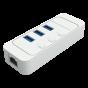 USB3.0 3-Port Hub + 1-Port Gigabit Ethernet with On / Off Switch